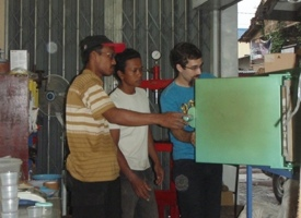 A new kiln arrives at the Society for Health, Education, Environment and Peace (SHEEP) in Jogjakarta, Indonesia for their ceramic research lab to work on developing ceramic water filters. Nick Rozard is teaching them to conduct their own research, development and testing.